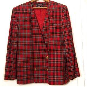 Vintage Tailored Blazer Clueless Red Plaid